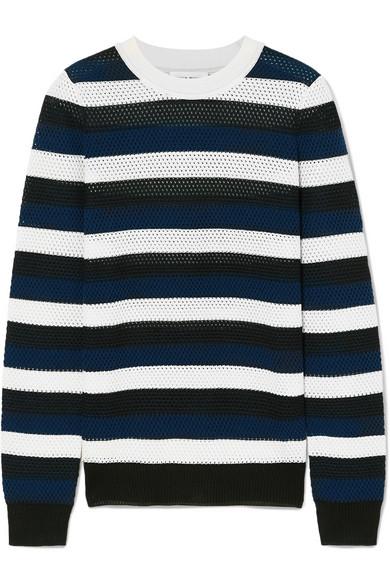 SONIA RYKIEL Striped Open-Knit Wool-Blend Top in Blue