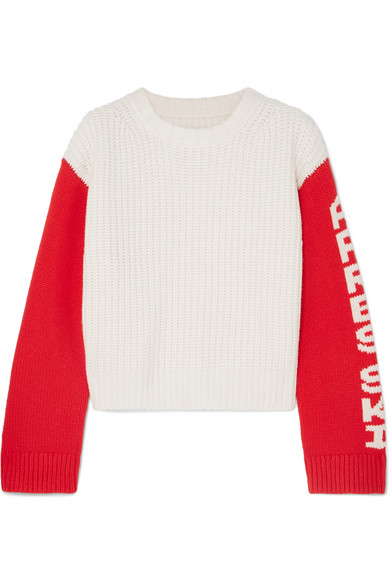 Merino Cropped Apres Ski Sweater in White