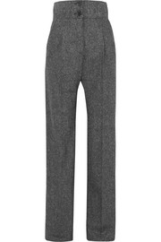 Wool-tweed wide-leg pants