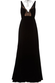 Lace-paneled velvet gown