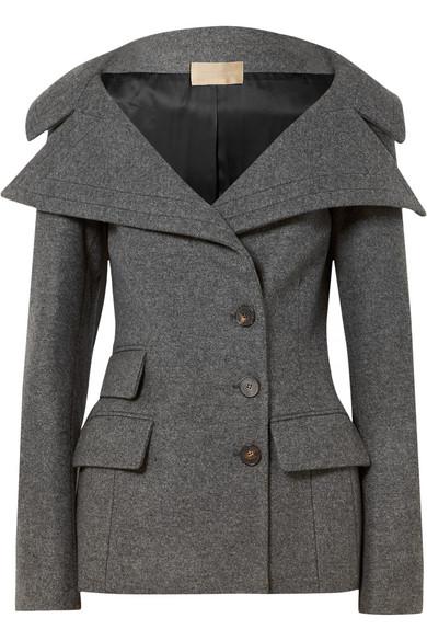 ANTONIO BERARDI Wool-Blend Felt Jacket in Gray