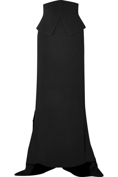 ANTONIO BERARDI Asymmetric Crepe Maxi Skirt in Black
