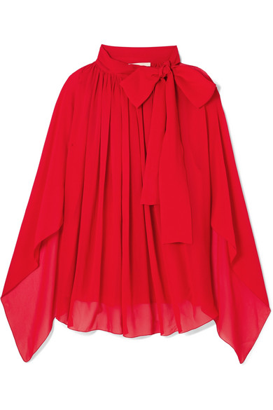 ANTONIO BERARDI Tie-Neck Silk-Chiffon Top in Red