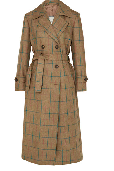 GIULIVA HERITAGE COLLECTION CHRISTIE CHECKED WOOL TRENCH COAT