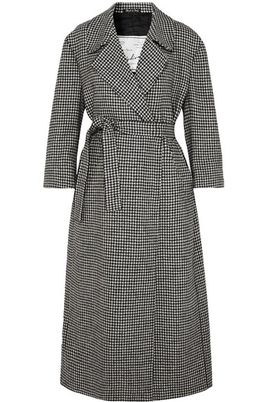 Linda Belted Houndstooth Wool Coat by Giuliva Heritage Collection