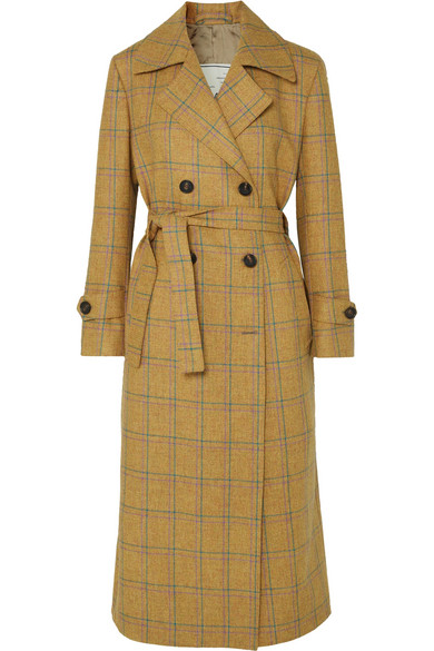 Christie Checked Wool Trench Coat, Yellow