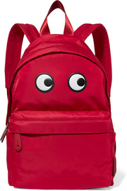Eyes appliquéd shell backpack
