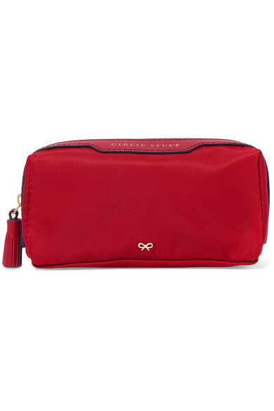Anya Hindmarch - Girlie Stuff Leather-trimmed Shell Cosmetics Case - Red