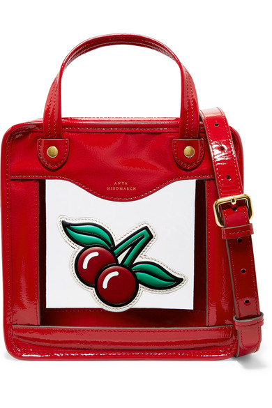 Anya Hindmarch - Cherries Rainy Day Small Appliquéd Patent-leather And Pvc Tote - Red