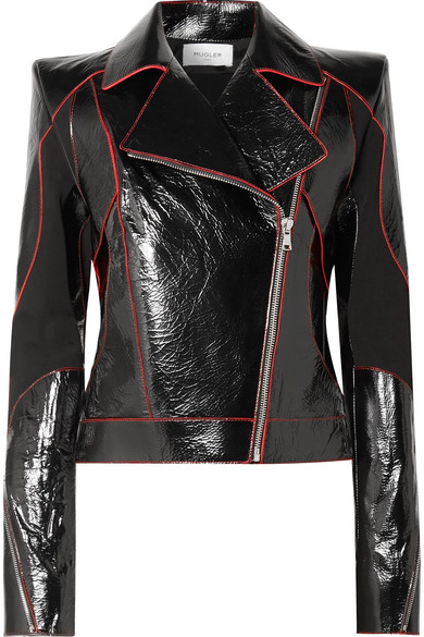 Paneled Textured Patent Leather Biker Jacket by Mugler