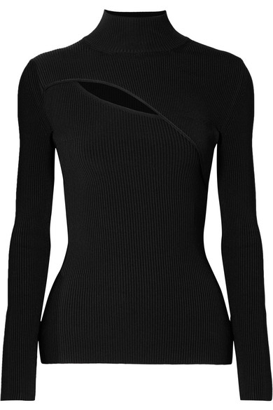 CUTOUT RIBBED-KNIT TURTLENECK SWEATER