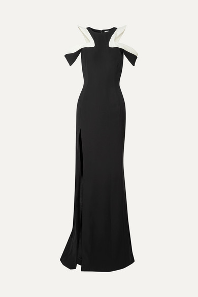 Mugler RUFFLED COLD-SHOULDER CADY GOWN