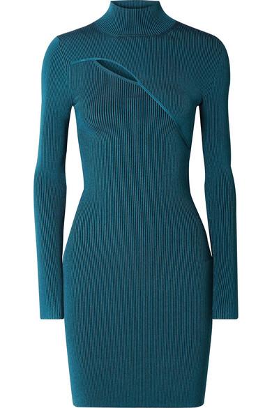 Mugler - Cutout Ribbed Stretch-knit Turtleneck Mini Dress - Blue