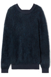 Cutout brushed knitted sweater
