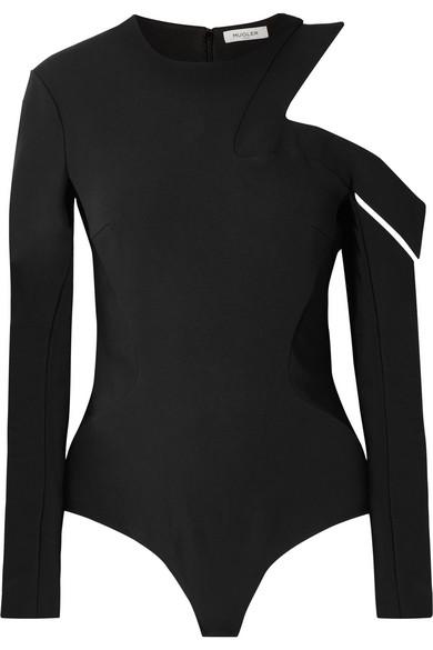 MUGLER Cutout crepe thong bodysuit