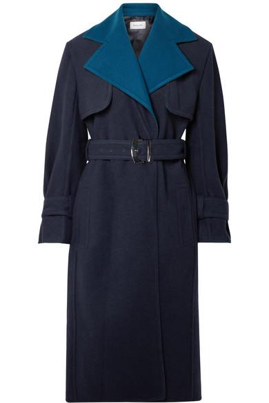 MUGLER Two-tone wool trench coat