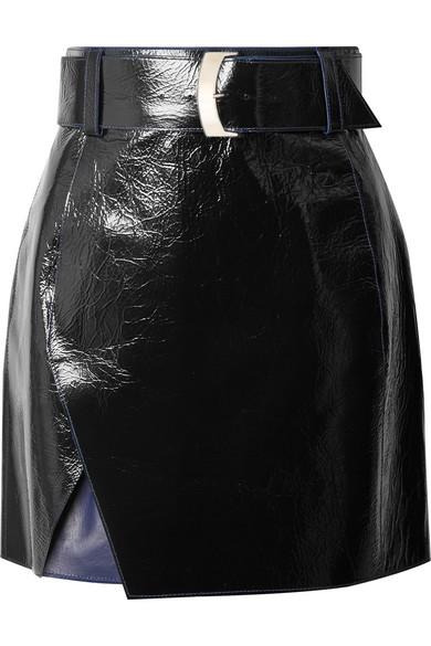 MUGLER Glossed-leather mini skirt