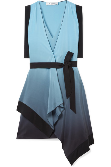 MUGLER Draped ombré silk crepe de chine wrap dress