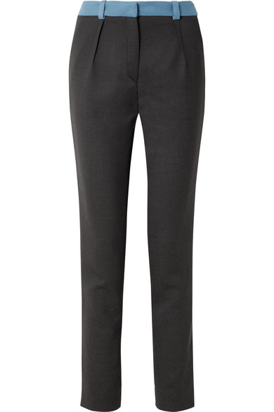 Mugler TWO-TONE WOOL SLIM-LEG PANTS