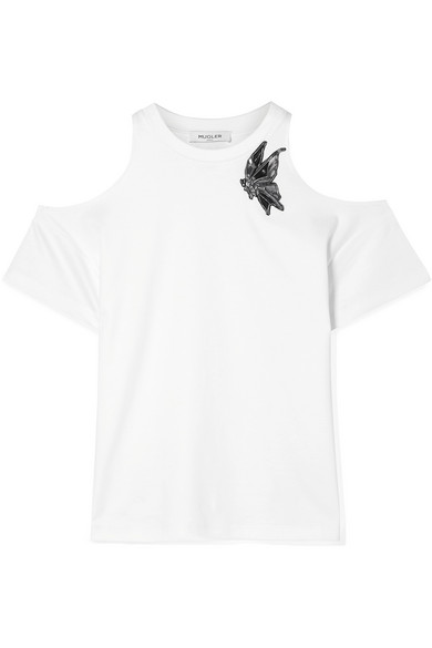 MUGLER Appliquéd cold-shoulder cotton-jersey top