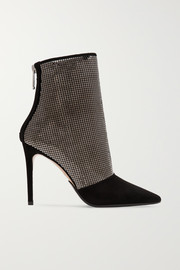 Balmain Chainmail-embellished suede ankle boots