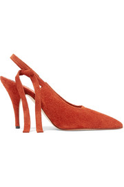 Dorothy textured-suede slingback pumps