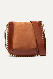 Oskan studded leather and suede shoulder bag