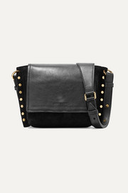 Kleny embellished leather and suede shoulder bag