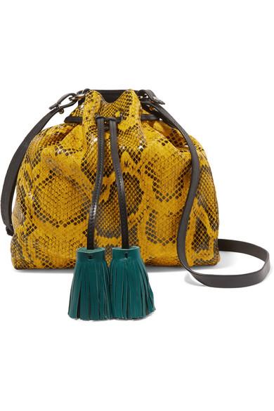 Isabel Marant - Beeka Tasseled Snake-effect Leather Shoulder Bag - Yellow
