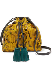 Beeka tasseled snake-effect leather shoulder bag