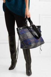Isabel Marant Wardy patent leather-trimmed tartan coated-canvas tote