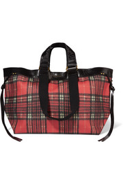 Wardy leather-trimmed tartan coated-canvas tote