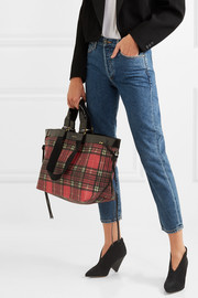 Isabel Marant Wardy leather-trimmed tartan coated-canvas tote