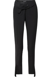 Fold-over crepe straight-leg pants