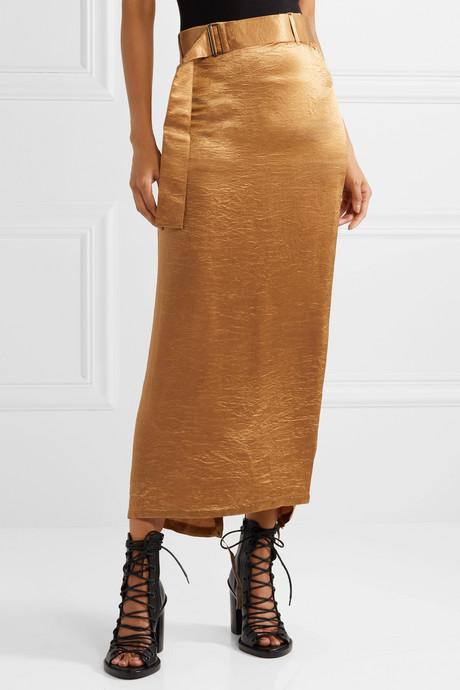 Wrap-effect belted crinkled-satin midi skirt