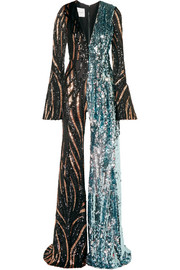 Tiger-print sequined tulle jumpsuit