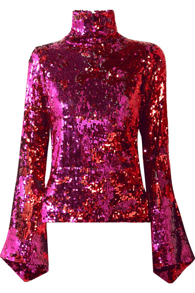 Sequined Tulle Turtleneck Top by Halpern