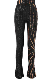 Halpern Sequined tulle slim-leg pants