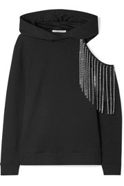 Cutout embellished cotton-jersey hooded top