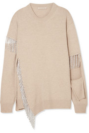 Christopher Kane Cutout crystal-embellished wool sweater