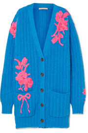 Christopher Kane Oversized embroidered wool-blend cardigan