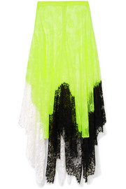 Christopher Kane Asymmetric color-block lace midi skirt