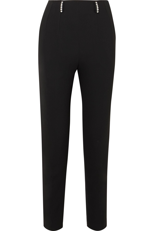 Christopher Kane Crystal-embellished twill slim-leg pants