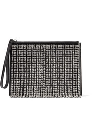 Crystal-embellished patent-leather clutch