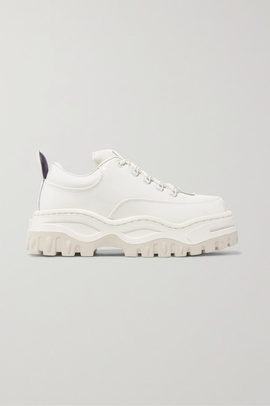 Angel Glossed-Leather Platform Sneakers in White
