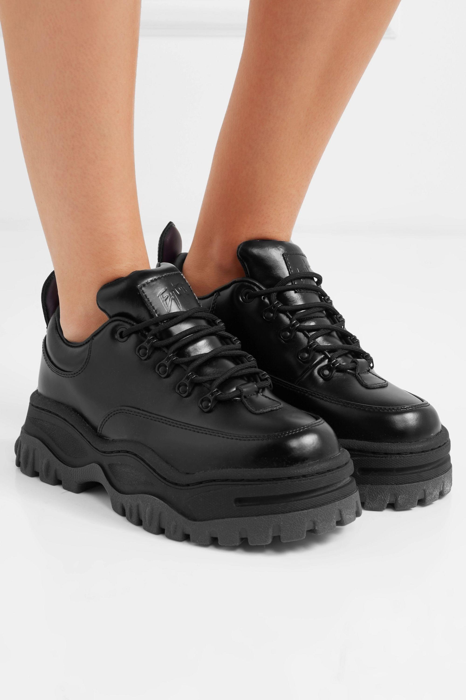 Black Angel glossed-leather platform