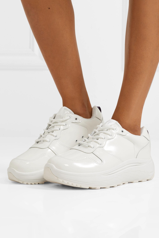 White Jet patent-leather platform