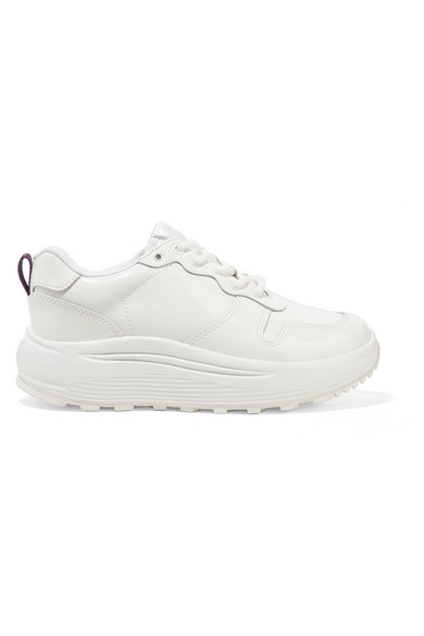 Jet Patent-Leather Platform Sneakers in White