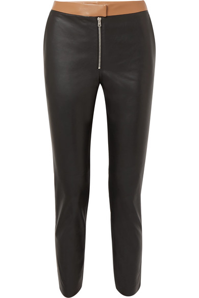 Two-Tone Leather Skinny Pants in Black