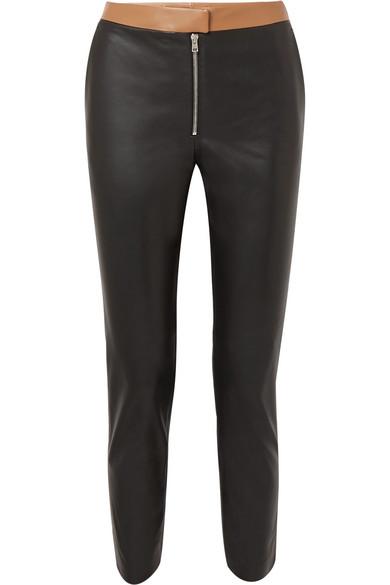 Victoria Beckham - Two-tone Leather Skinny Pants - Black